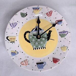 VTG. MARY ENGELBREIT CERAMIC TEAPOT & TEACUP Wall Clock - FLAW