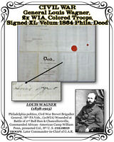 CIVIL WAR General Wagner, 2x WIA, Colored Troops Signed 1864 Velum Phila. Deed