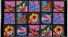 """23"""" PANEL BUTTERFLIES  BUTTERFLY GARDEN  FLOWERS  ELIZABETH STUDIO COTTON FABRIC"""