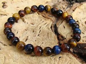 Natural Gemstone Men's ELASTIC bracelet all 8mm BLUE RED BROWN Tiger Eye beads
