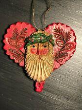 Midwest Cannon Falls Pam Schifferl Primitive Folk Art Santa Heart Ornament Pine