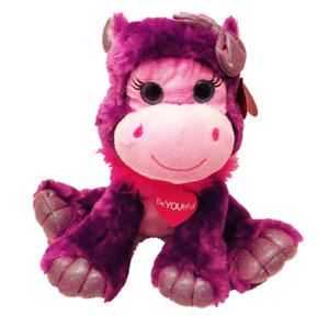 "First & Main Purple Valentine Gal Pal Hippo Plush Stuffed Animal 10"" sitting"