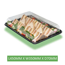 More details for large platter base & clear lids x 25 (450 x 310 x 75mm) reusable & recyclable