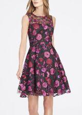 Tahari 7220M468 Black-Multi Rose Applique Embellished Mesh Fit/Flare Dress -$178