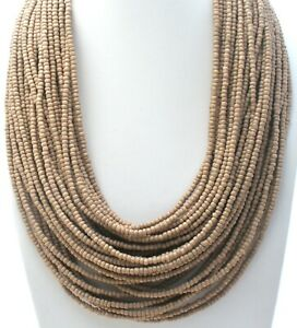 "Bajalia Necklace Light Brown Multi Strand 20"" Long Statement Designer Jewelry"