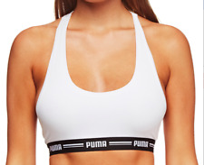 Puma Iconic Racerback Bra Crop Top White Logo Band Sz m