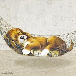 N874# 3 x Single Paper Napkins For Decoupage Sleeping Brown Dog In Hammock