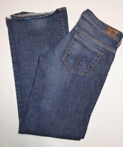 Mavi Womens Leann Straight Legged Distressed Stretch Jeans Dark Blue Size 27X34