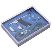Airbrush Spray Gun 0.2/0.3/0.5mm Needle Double-action Trigger Air-paint Kit K1H6