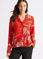 M&S Collection Ladies 12 Blouse Red Mix Floral Button Oversized Top Chiffon NEW
