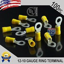 """100 PACK 12-10 Gauge 1/4"""" Stud Insulated Vinyl Ring Terminals Tin Copper Core US"""