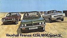 Vauxhall Firenza 1972-73 UK Market Foldout Sales Brochure 1256 DL 1800 Sport SL