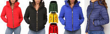 Womens Ladies Faux Fur Collared Hooded Quilted Padded Puffer Bubble Jacket Coat