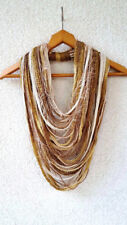 Ladies Scarf Fabric Jewelry Infinity Necklace Gold Ivory Sparkle Woman Scarves