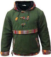 Men's Hippie Grunge Bordered Pullover Full Fleece Lined Festival Hippie Jacket