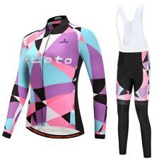 Women's Cycling Long Kit Ladies Long Sleeve Jersey and Pants / Bib Tight Set