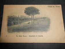 1900 CARTOLINA SALUTI DA ROMA VIA APPIA NUOVA - ACQUEDOTTI DI CLAUDIO
