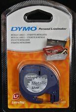 Dymo 12 mm LETRATAG etiqueta de cinta Metálico Plata 4 M