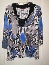 Gorgeous Printed Knit Sweater/Top Leopard Pullover Blk Trim 1X 2X NWT