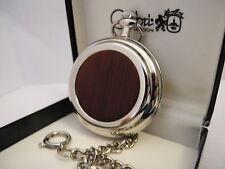 Face Pocketwatch W/Chain New Clearance .Colibri Silvertone Wood Grain W/Mop