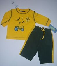 NWT Gymboree Tractor Company 3-6 Months Yellow Tool Tee & Green Fleece Pants