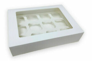 10 x Cupcake Box for 12 Hole With Clear Window and Removable Tray/UK Seller