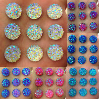 BG_ DIY 40Pcs 12mm Round AB Resin Flatback Rhinestones for Phone Wedding Crafts
