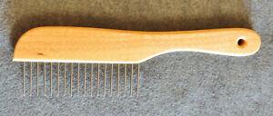 """Poodle Comb Dog Pet Groom/Grooming Tool 1-1/4"""" Teeth 8-3/4"""" Wooden Wood Handle"""