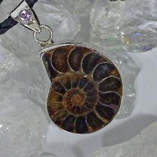 edler Ammonit Madagaskar Anhänger 925Silber Amethyst Talisman an Lederkette L:5