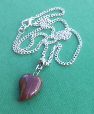Red Jasper Elegant Heart Gemstone Drop Necklace Love Women's - Aussie Seller!