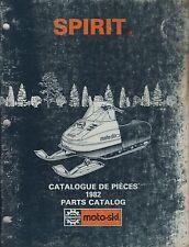 1982 MOTO-SKI  SPIRIT  SNOWMOBILE PARTS MANUAL P/N 480 1150 00  (716)