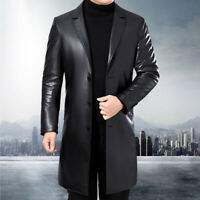 Men's Leather Trench Coat Long Jacket Thick Winter Blazer Business Sheepskin New