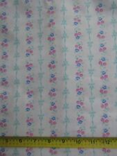 Flannel Fabric 100% Cotton Brushed One Side Flowers Bows Blue Pink Striped BTHY