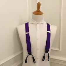 Polo Ralph Lauren Suspenders Purple 100% Silk w/ Leather Trim
