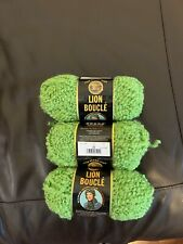 lion brand boucle yarn 3 Skeins In Lime