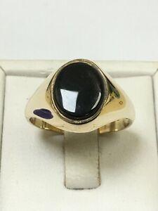 Large 9 Carat Yellow Gold GENTS BLACK ONYX SET Ring