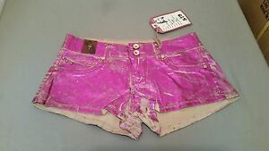 New Authentic 579 Jeanswear Metallic Magenta Coated Shorts