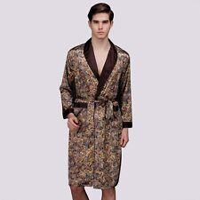 2019 Men Sleepwear Silk Satin Pyjamas Kimono Nightgown Bathrobe Plus Size Summe