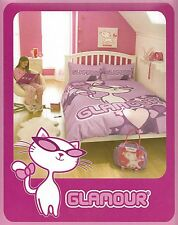 DOUBLE BED DUVET COVER SET GLAMOUR PUSS CAT HEARTS CERISE HOT PINK GIRLS NOVELTY