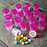 "50 Tiny 1 1/4"" HIGH Plastic JARS  Trans Pink Caps Travel Samples 3304 DecoJars"