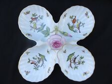 Herend Hand Painted China Rothschild Bird Four Part Relish Tray with Rose Finial