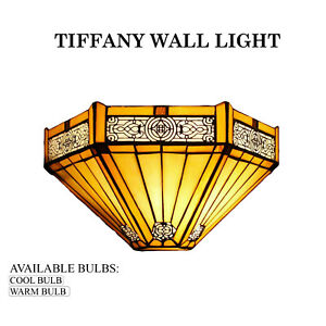 Tiffany Yellow Hexagon Style Wall Light Handcrafted Stained Glass Uplighter