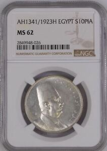Egypt , King Fuad , Fouad - Silver 10 Pia - AH1341//1923H, Graded by NGC MS62