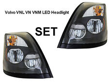Volvo VNL VN VNM Truck Black LED Headlight Set Pair 2004-2017