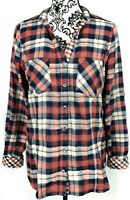 Skies are Blue Womens Plaid Flannel Shirt Size Medium Red Blue
