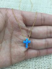 "Blue Opal Small Cross 925 Sterling Silver Gold Plated  Necklace 16""-18"""