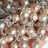 Bali Sterling Silver Bead &AAA+8MM Real Pearl Catholic Rosary NECKLACE Cross Box