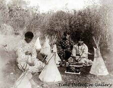 Native American Cheyenne Girls with Dolls & Teepees- 1907 - Historic Photo Print