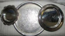 3 Vtg Antique Silver Plate Chargers Trays Wm A Rogers Meadowbrook ASCO Lovely!