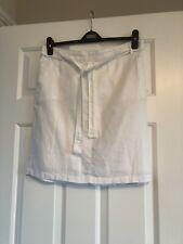 BNWOT M&S Summer White Lined Pocket Linen Skirt Size 12 Elastic Waist At Back